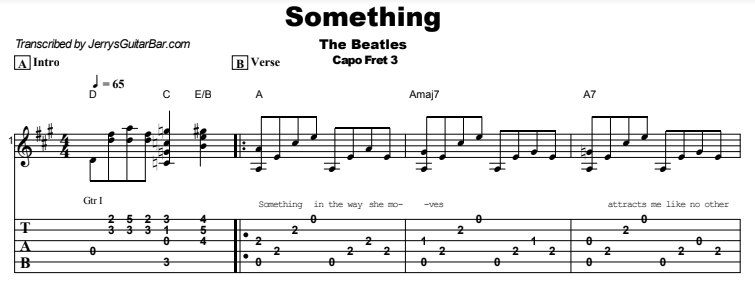 The Beatles - Something Tab