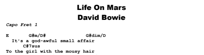 David Bowie - Life On Mars Chords & Songsheet
