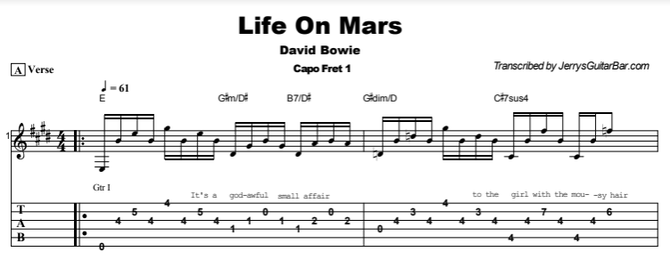 David Bowie - Life On Mars Tab