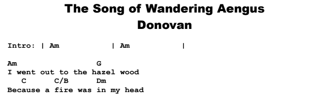 Donovan - The Song of Wandering Aengus Chords & Songsheet