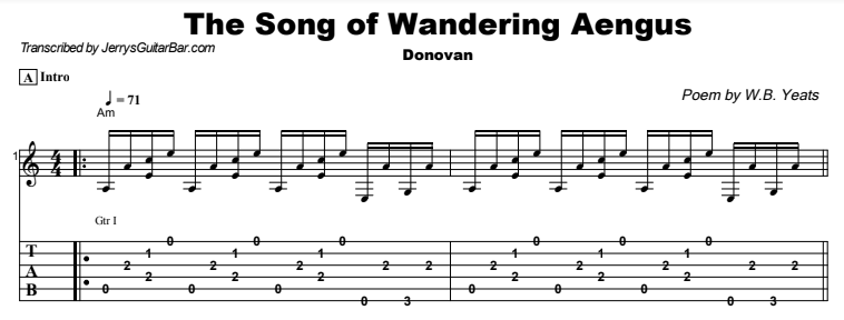 Donovan - The Song of Wandering Aengus Tab