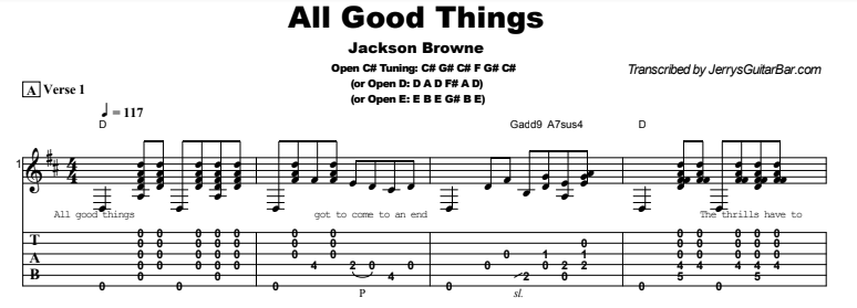 Jackson Browne - All Good Things Tab