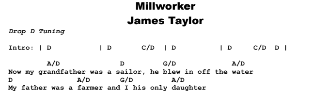 James Taylor - Millworker Chords & Songsheet