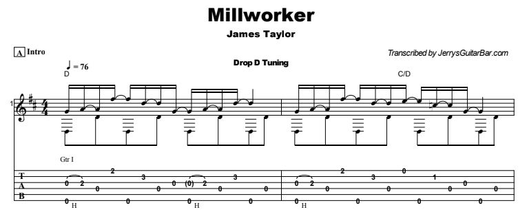 James Taylor - Millworker Tab