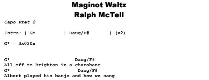 Ralph McTell - Maginot Waltz Chords & Songsheet