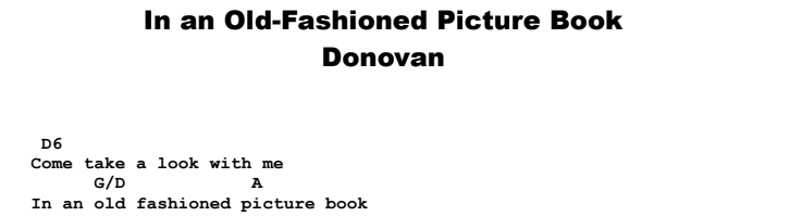 Donovan - In An Old-Fashioned Picture Book  Chords & Songsheet