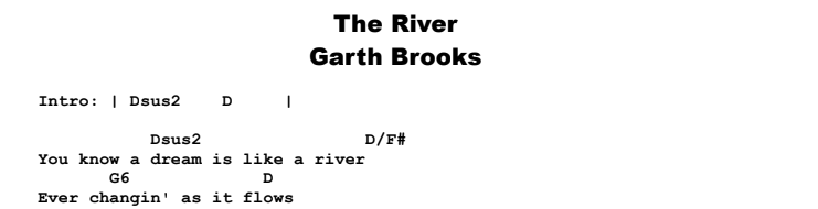 Garth Brooks - The River Chords & Songsheet