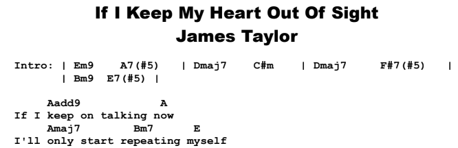 James Taylor - If I Keep My Heart Out of Sight Chords & Songsheet