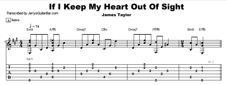 James Taylor - If I Keep My Heart Out of Sight Tab