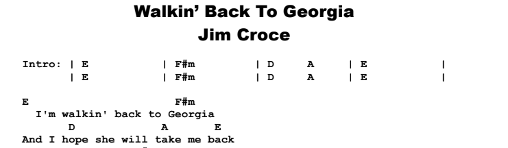 Jim Croce - Walkin' Back To Georgia Chords & Songsheet