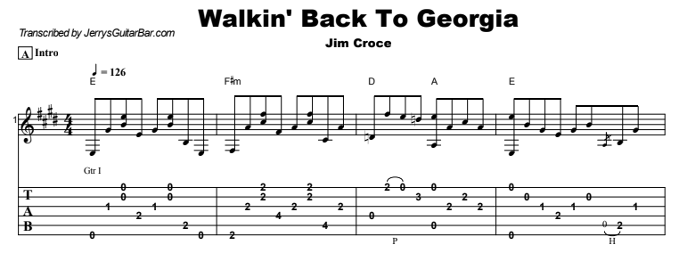 Jim Croce - Walkin' Back To Georgia Tab