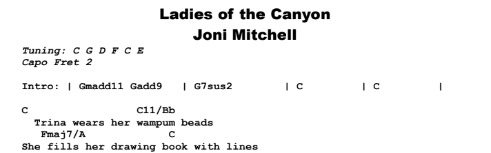 Joni Mitchell - Ladies of the Canyon Chords & Songsheet