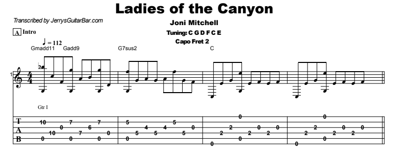 Joni Mitchell - Ladies of the Canyon Tab
