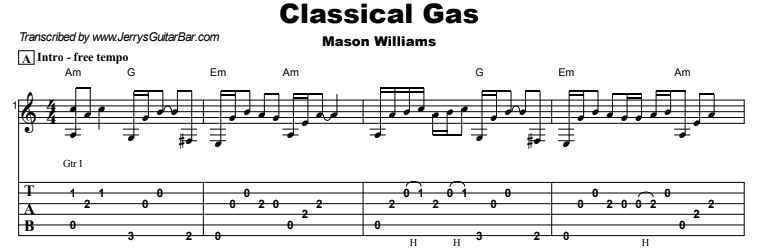 Mason Williams - Classical Gas Tab