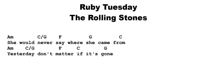 The Rolling Stones - Ruby Tuesday  Chords & Songsheet