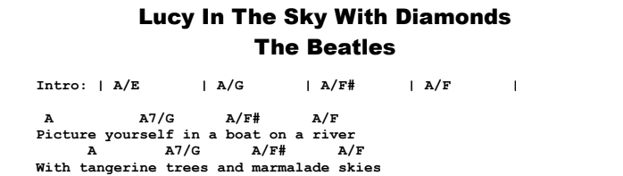 The Beatles - Lucy In The Sky With Diamonds Chords & Songsheet