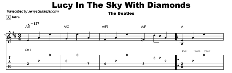 The Beatles - Lucy In The Sky With Diamonds Tab