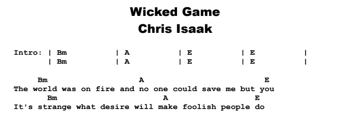 Chris Isaak - Wicked Game Chords & Songsheet Preview