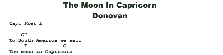 Donovan - The Moon in Capricorn Chords & Songsheet