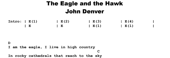 John Denver - The Eagle and the Hawk Chords & Songsheet