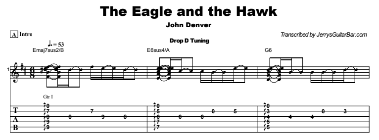 John Denver - The Eagle and the Hawk Tab