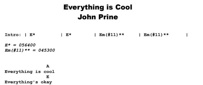 John Prine - Everything is Cool Chords & Songsheet