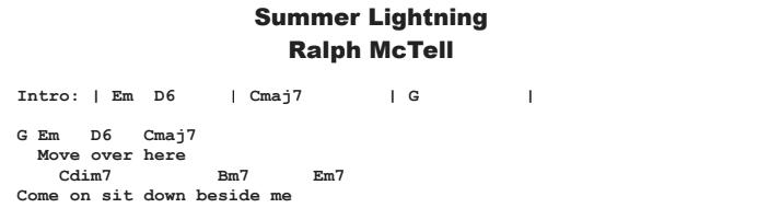 Ralph McTell - Summer Lightning Chords & Songsheet
