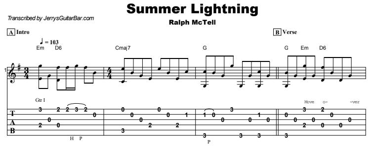 Ralph McTell - Summer Lightning Tab