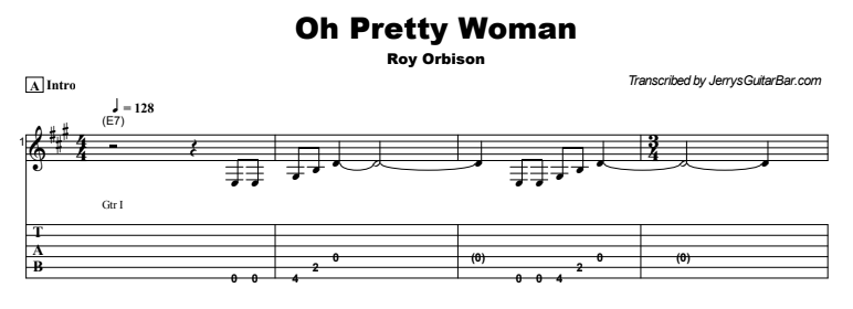 Roy Orbison - Oh Pretty Woman Tab