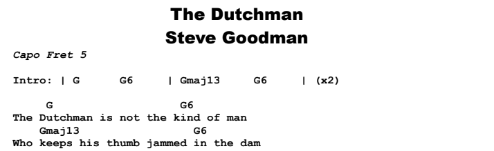 Steve Goodman - The Dutchman Chords & Songsheet