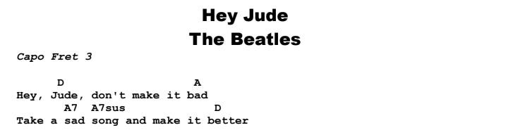 The Beatles - Hey Jude Chords & Songsheet