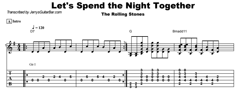 The Rolling Stones - Let's Spend the Night Together Tab