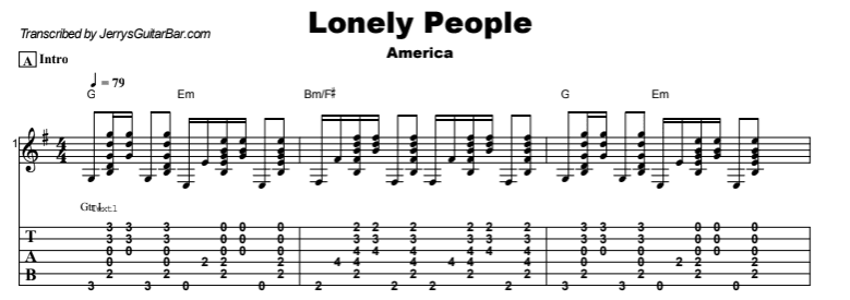 America - Lonely People Tab