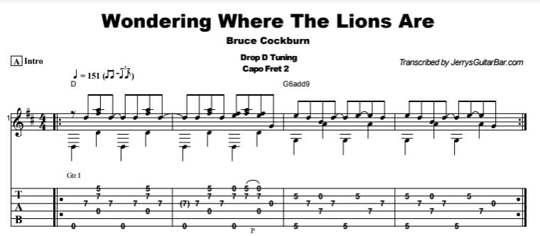 Bruce Cockburn - Wondering Where The Lions Are Tab