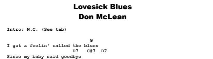 Don McLean - Lovesick Blues Chords & Songsheet