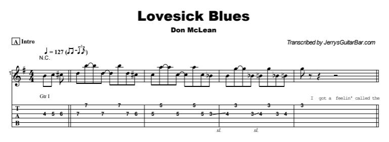 Don McLean - Lovesick Blues Tab