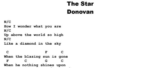 Donovan - The Star Chords & Songsheet