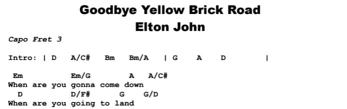 Elton John - Goodbye Yellow Brick Road Chords & Songsheet