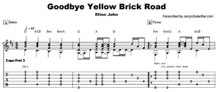 Elton John - Goodbye Yellow Brick Road Tab