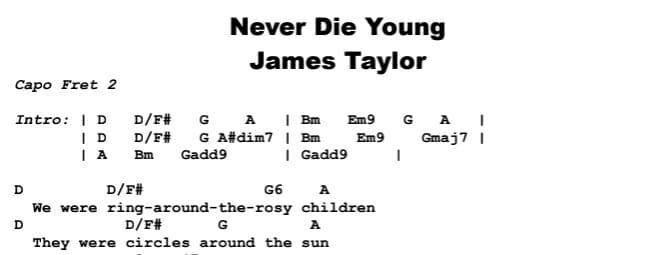 James Taylor - Never Die Young Chords & Songsheet