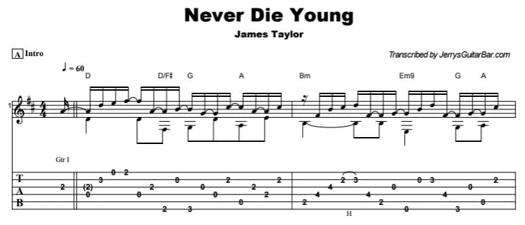 James Taylor - Never Die Young Tab