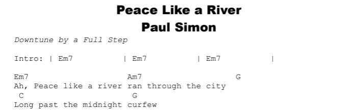Paul Simon - Peace Like a River Chords & Songsheet