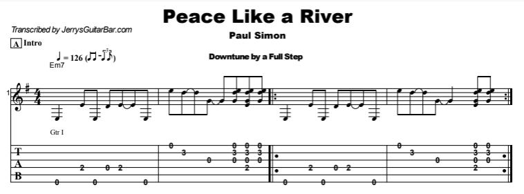 Paul Simon - Peace Like a River Tab