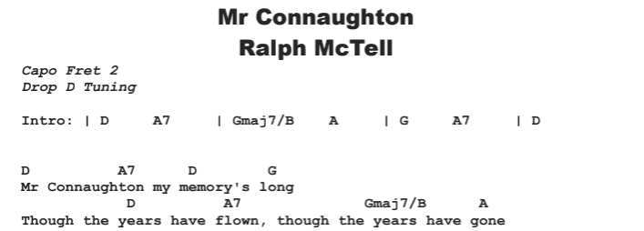 Ralph McTell - Mr Connaughton Chords & Songsheet