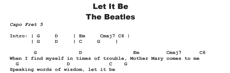 The Beatles - Let It Be Chords & Songsheet