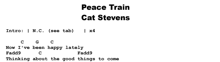 Cat Stevens - Peace Train Chords & Songsheet