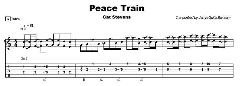 Cat Stevens - Peace Train Tab