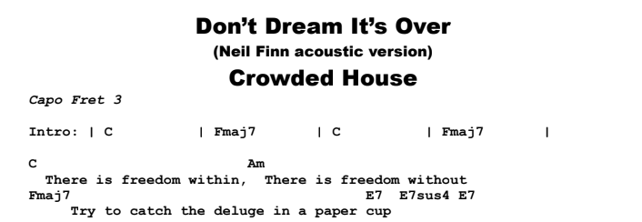 Crowded House - Don't Dream It's Over (acoustic) Chords & Songsheet