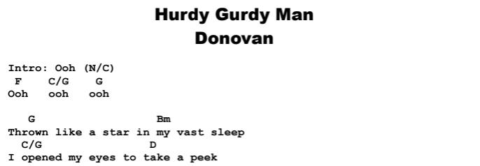 Donovan - Hurdy Gurdy Man Chords & Songsheet