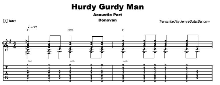 Donovan - Hurdy Gurdy Man Tab
